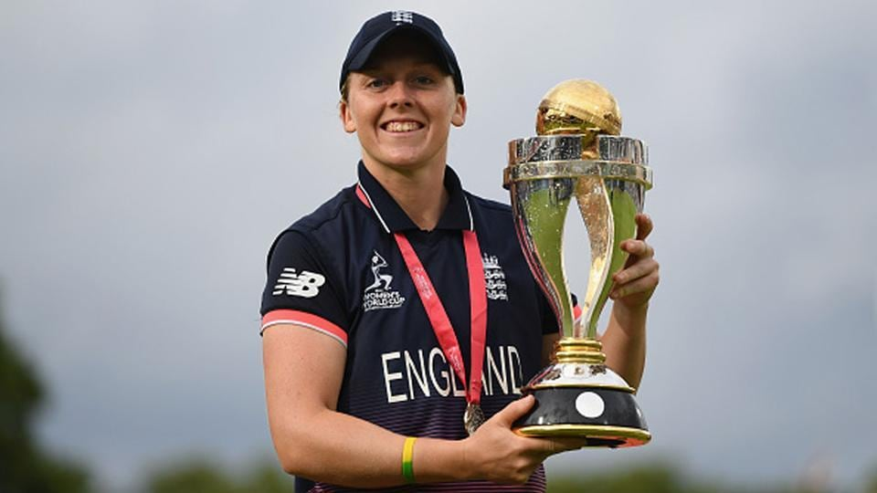 England captain Heather Knight poses with the trophy after winning the ICC Women's World Cup in 2017.