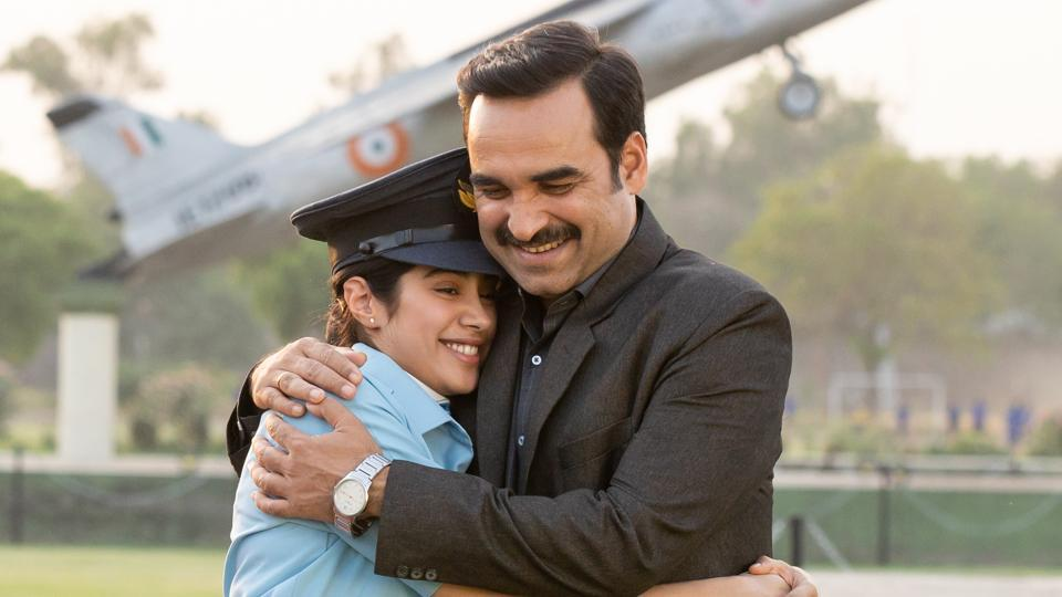 Gunjan Saxena The Kargil Girl movie review: Janhvi Kapoor and Pankaj Tripathi in a still from the new Netflix film.