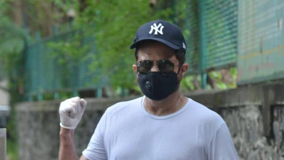 Anil Kapoor was seen in a mask and gloves.
