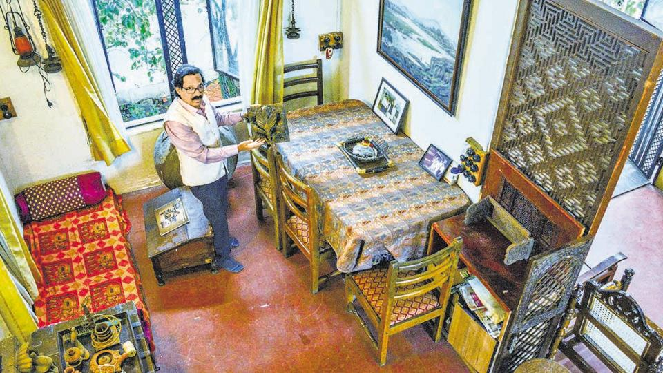 Heritage conservator Dhavalaey in his museum at Darawali village in Pune. It houses the collectables he has accumulated over the past 20 years.