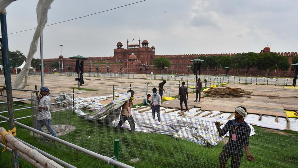 Preparations underway for Independence Day celebrations, at Red Fort, in New Delhi on August 07, 2020.