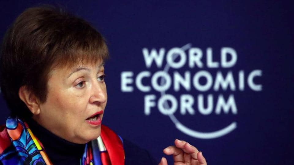 IMFManaging Director Kristalina Georgievaattends a news conference ahead of the World Economic Forum (WEF) in Davos, Switzerland.