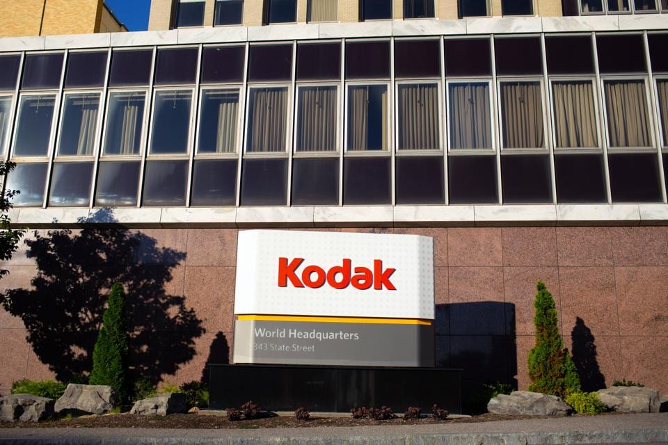 Signage is displayed outside the Eastman Kodak Co. headquarters complex in Rochester, New York, US.