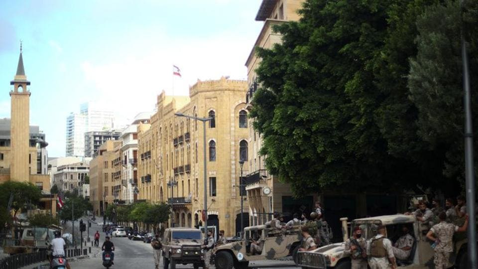 Army soldiers are seen on the street where a protest happened last night following Tuesday's blast, in Beirut, Lebanon.
