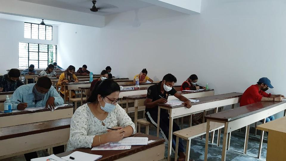 Students appearing for the BED entrance examination, at National PG College, in Lucknow on Sunday