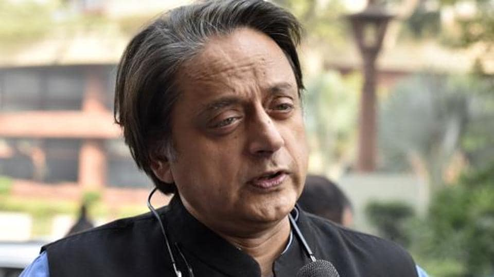 Congress MP Shashi Tharoor seen at Parliament House in New Delhi.