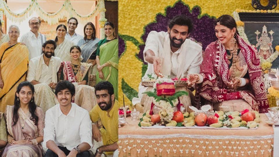 Rana Daggubati and Miheeka Bajaj took part in a Satyanarayan puja after their wedding.