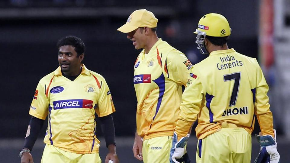 File image of MuttiahMuralitharan with MSDhoni and Matthew Hayden.