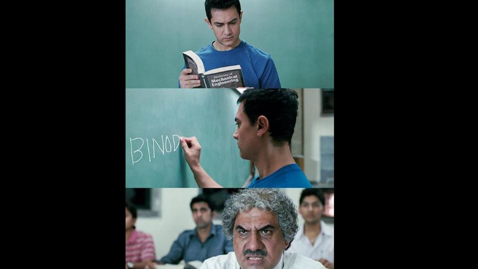 The image shows a still from the movie 3 Idiots.