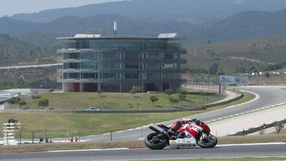A long shot of the Portimao Circuit in Portugal.