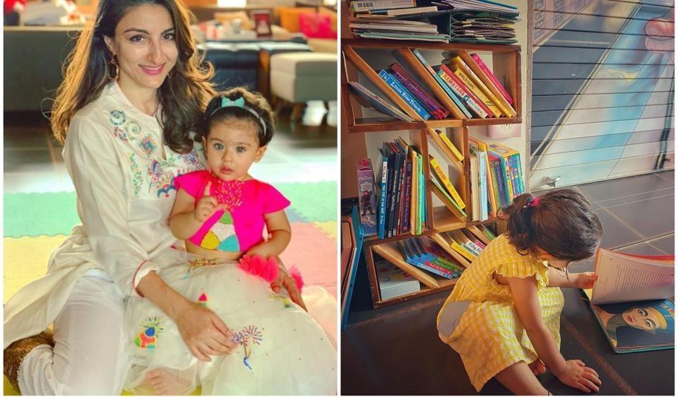 Soha Ali Khan's daughter Inaaya seems to love books already.