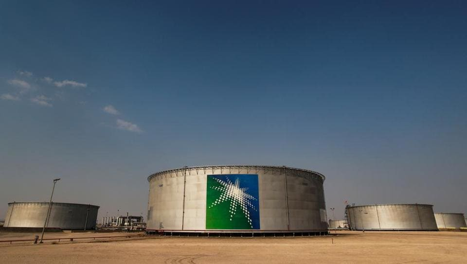 Oil tanks at a Saudi Aramco oil facility in Abqaiq, Saudi Arabia.