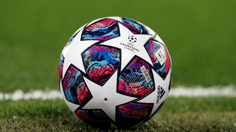 FILE PHOTO: Soccer Football - Champions League - Round of 16 Second Leg - Liverpool v Atletico Madrid - Anfield, Liverpool, Britain - March 11, 2020 General view of a match ball on the pitch before the match REUTERS/Phil Noble/File Photo