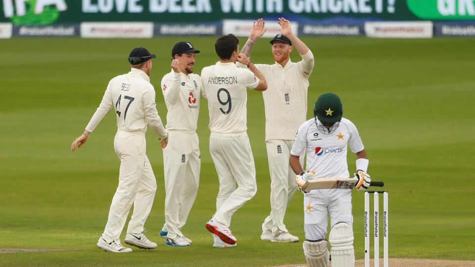 England's James Anderson celebrates taking the wicket of Pakistan's Babar Azam.