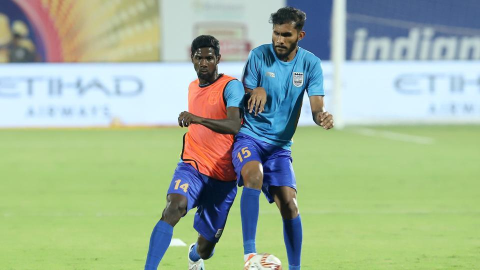 Rowllin Borges and Subhasish Bose warming up before the match 71 of the Indian Super League ( ISL ) between Mumbai City FC and NorthEast United FC held at the Mumbai Football Arena, Mumbai.