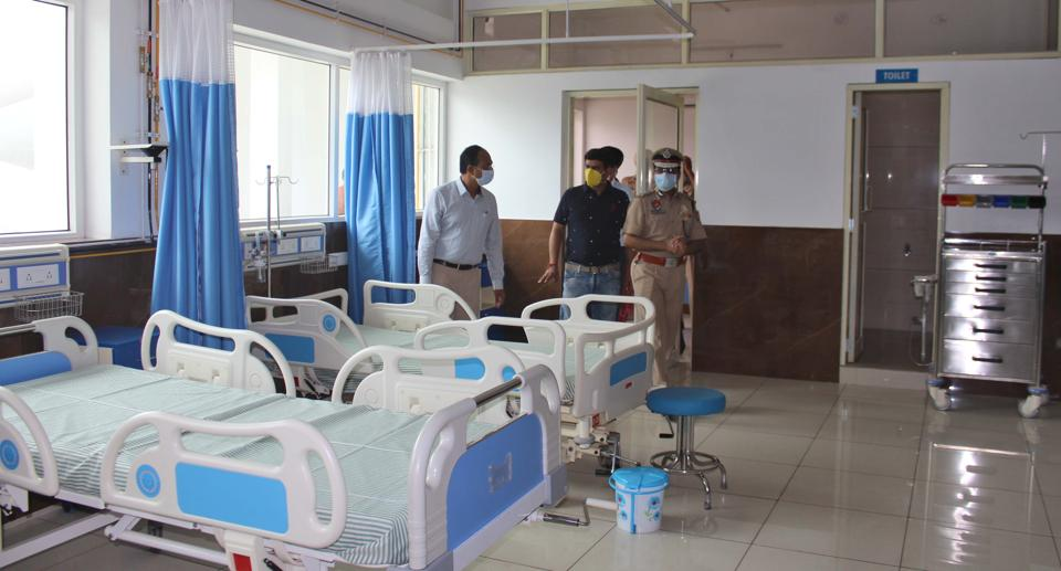 The district administration inspecting the 10-bed Covid care centre at Arora Neuro Centre in Mall Road, Ludhiana, on Monday.