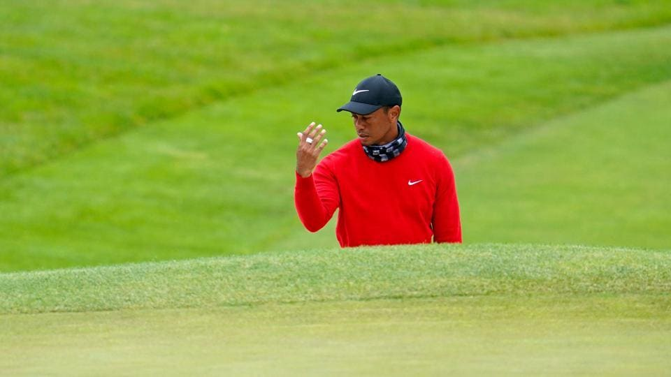 Aug 9, 2020; San Francisco, California, USA; Tiger Woods reacts after playing from the bunker on the 10th hole during the final round of the 2020 PGA Championship golf tournament at TPC Harding Park. Mandatory Credit: Kyle Terada-USA TODAY Sports