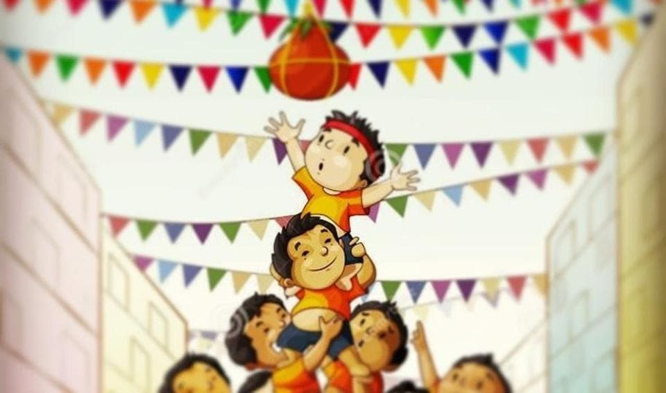 The boy at the top of the pyramid is known as Govinda