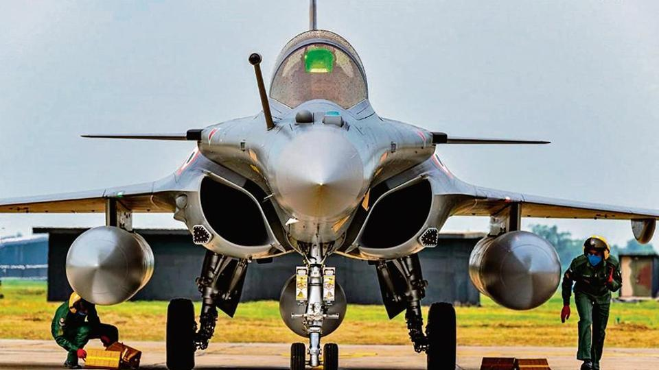 A Rafale fighter jet lands at the Air Force Station in Ambala on July 29 this year.