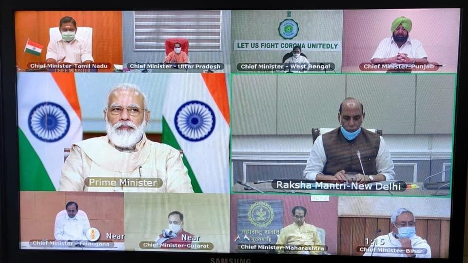 PM Modi holding a video conference with chief ministers of different states on the Covid-19 situation.