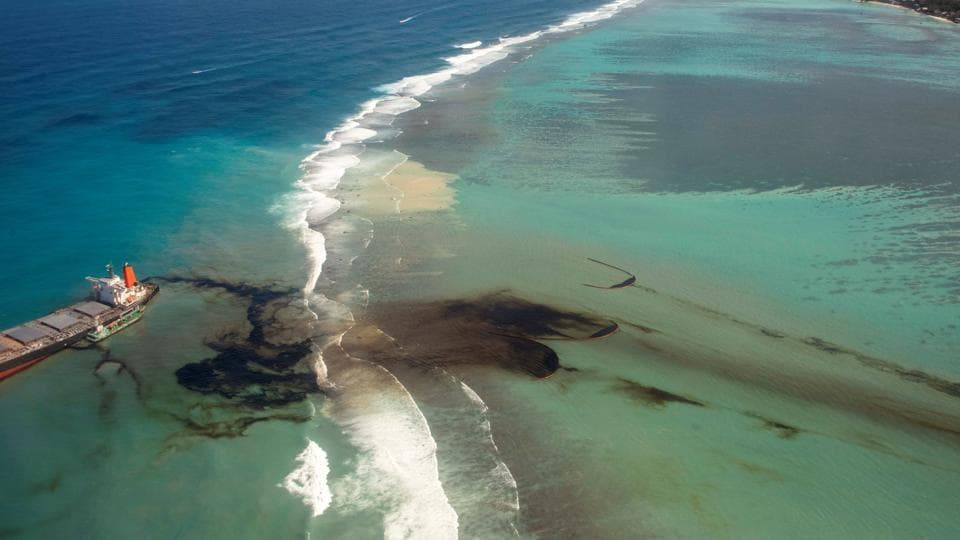 An aerial view shows the bulk carrier ship MV Wakashio that ran aground on a reef at Riviere des Creoles in Mauritius, on August 10. MV Wakashio has leaked at least an estimated 1,000 tonnes of oil after it ran ashore off the southeastern coast of the island of Mauritius on July 25, Reuters reported.  (French Army command via REUTERS)