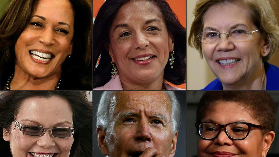 California Senator Kamala Harris in Detroit, Michigan and US Democratic presidential candidate and former Vice President Joe Biden in Wilmington among several other women in the VP race.
