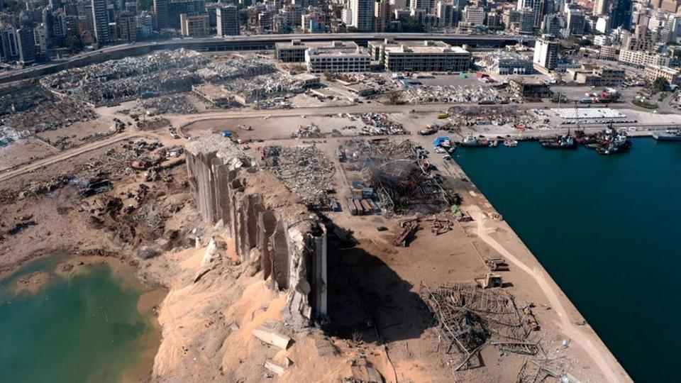 A still image taken from a drone footage shows the damage two days after an explosion in Beirut's port area, Lebanon.