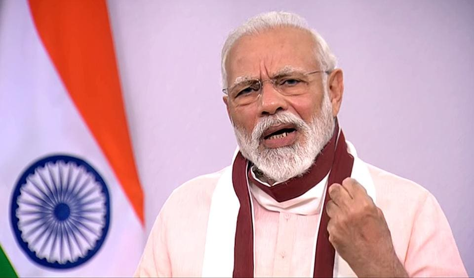 Prime Minister Narendra Modi addresses the nation in New Delhi on Tuesday. PM Modi held a video conference with the chief ministers  of 10 states. (ANI Photo)