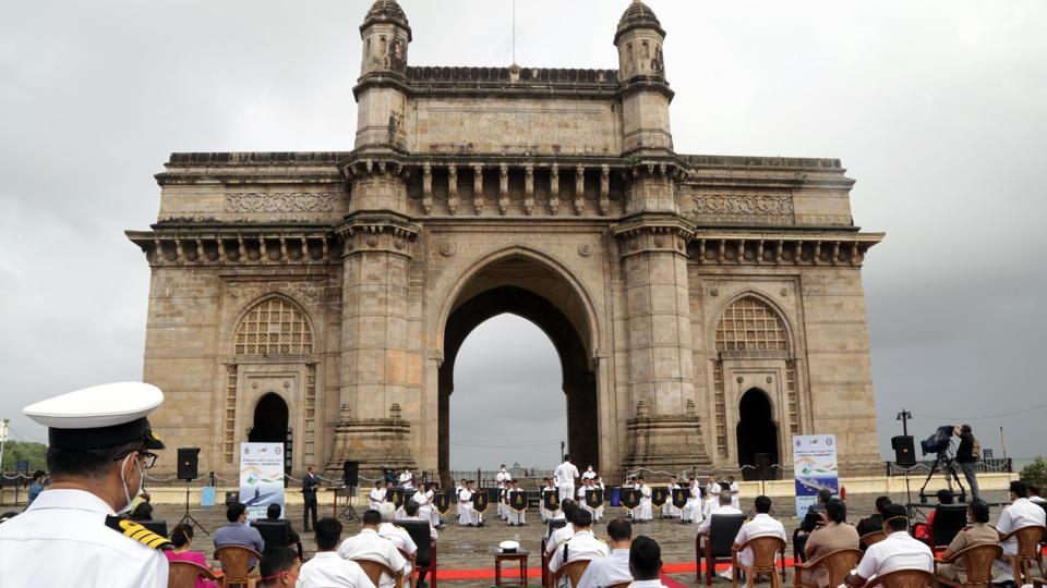 The Indian Naval band performs at Gateway of India as tribute from Indian Armed Forces to 'Corona Warriors,' as part of Indian Independence Day celebrations in Mumbai on August 8. Maharashtra state has been working at improving its Covid-19 recovery rate even as the pandemic shows no sign of flattening its curve. (Defence PRO Mumbai / HTPhoto)