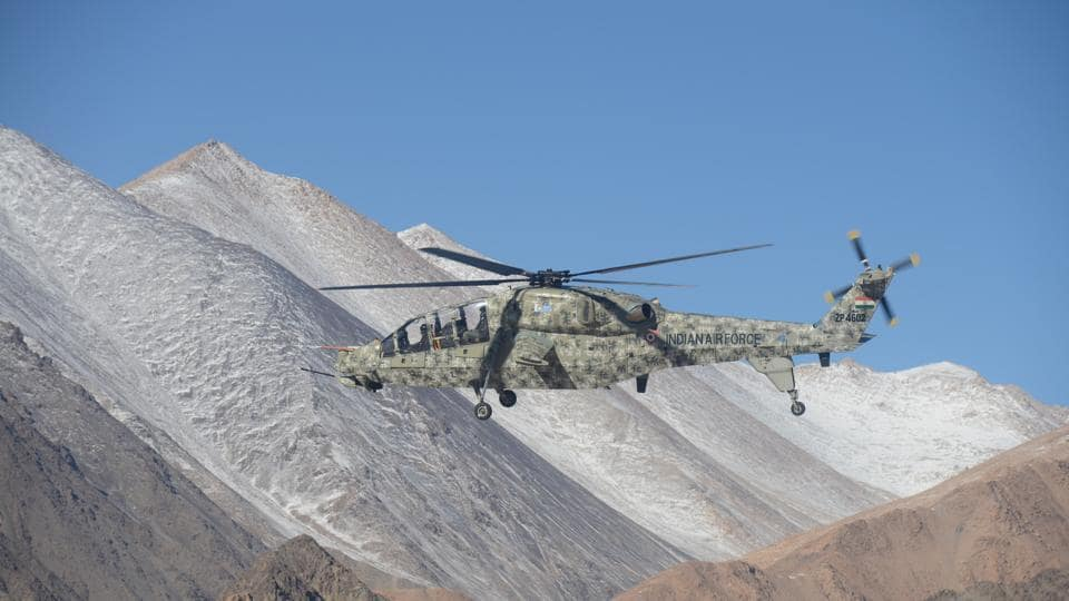 A HALlight combat helicopter during a flight in Ladakh.