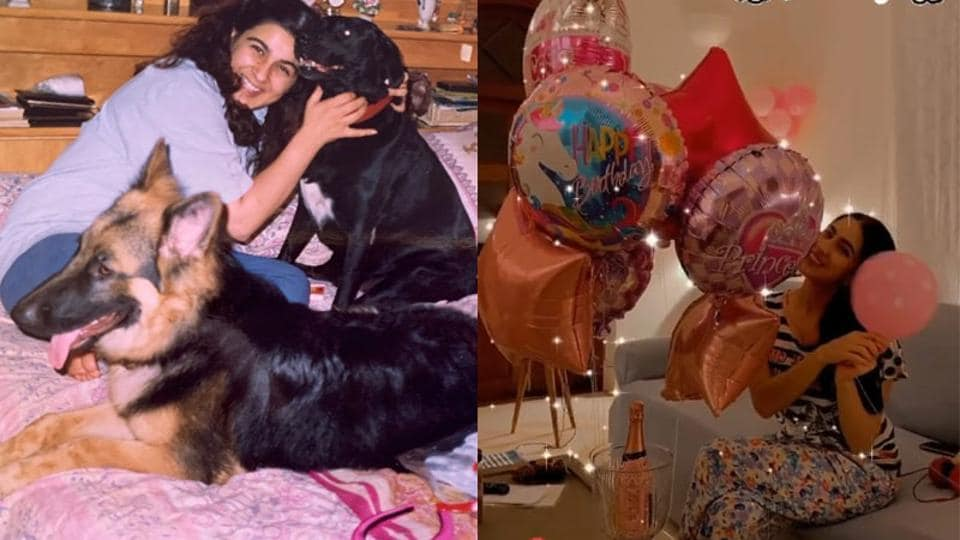 Sara Ali Khan shared a glimpse of her birthday celebrations and congratulated her mom on the occasion.