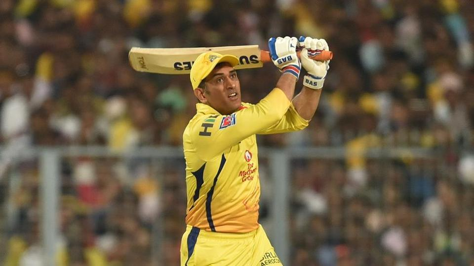 Chennai Super Kings captain MS Dhoni in action during IPL 2019