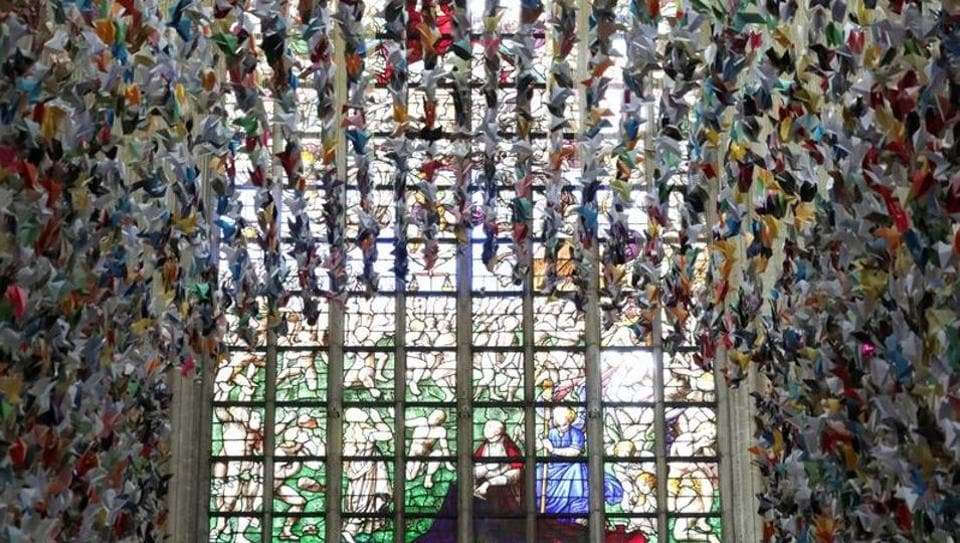 An art installation made of 20,325 origamis called