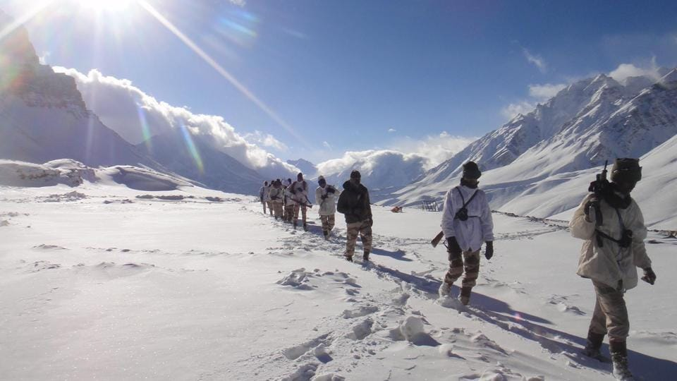 ITBP personnel patrolling in snow clad area at Indo-China border in Uttarakhand.