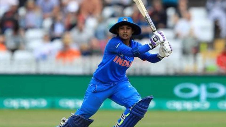 Mithali Raj of India bats during the England v India group stage match at the ICC Women's World Cup 2017 at The 3aaa County Ground on June 24, 2017 in Derby, England.