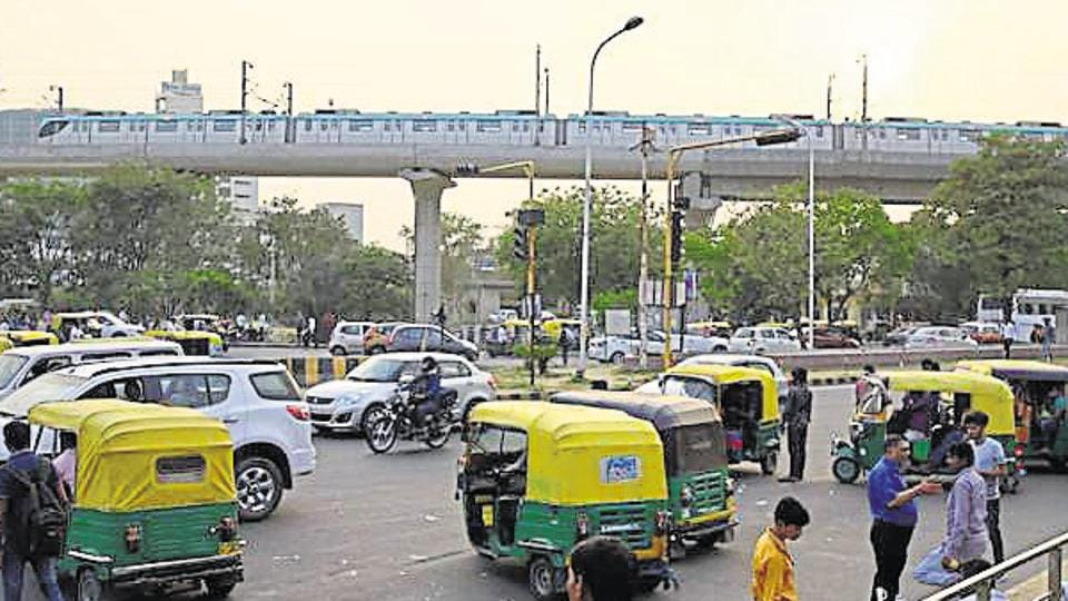 The traffic congestion due to Auto Rickshaws at pari chowk, in Greater Noida.