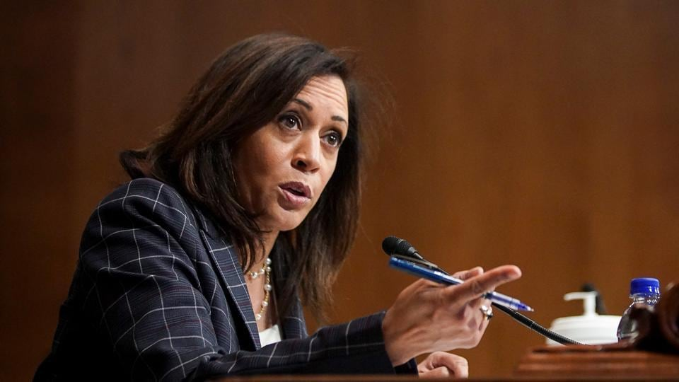 US Senator Kamala Harris (D-CA) speaks during a Senate Homeland Security and Governmental Affairs Committee oversight hearing examining the US Customs and Border Protection (CBP) on Capitol Hill in Washington, US.