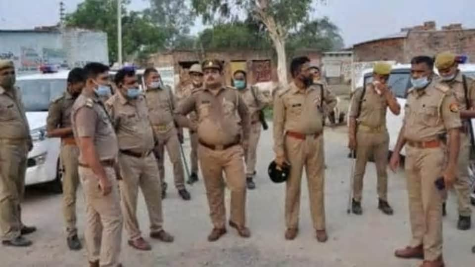 A police reinforcement in Kachhua village of Kaushambi district  of Uttar Pradesh after a four-member police was attacked by a mob late Wednesday night.