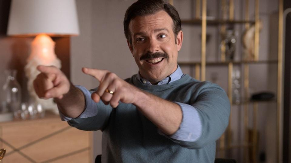 Jason Sudeikis in a still from Ted Lasso.