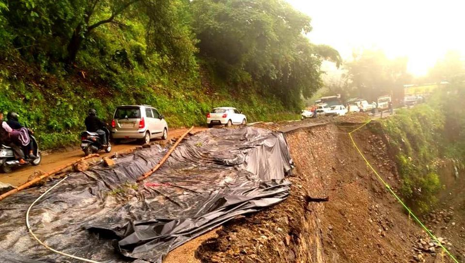 A portion of the Mussoorie- Dehradun road has been damaged due to a landslide following heavy rainfall in Uttarakhand.