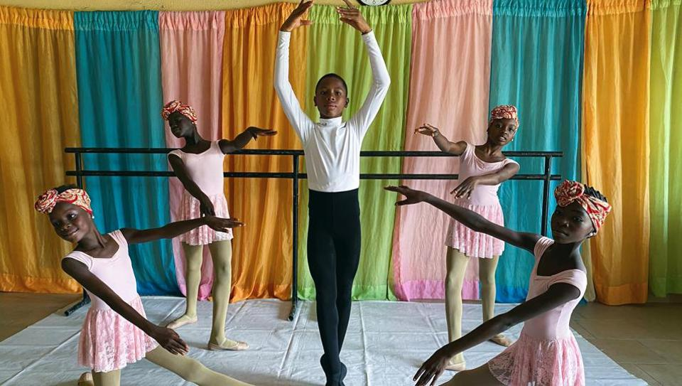 Anthony Mmesoma Madu, an 11-year-old ballet dancer, poses during a rehearsal with other students at the Leap of Dance Academy in Lagos, Nigeria July 27, 2020. Picture taken July 27, 2020.