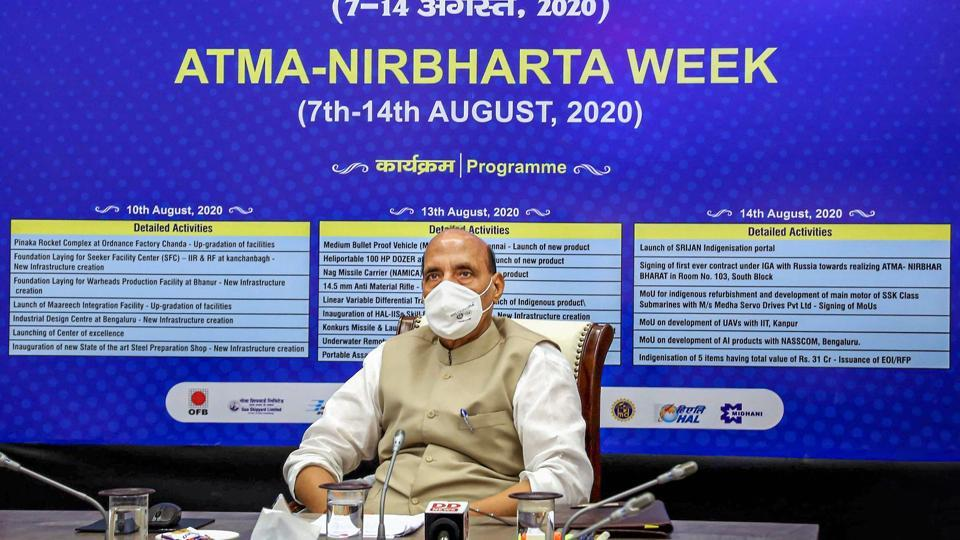 Defence minister Rajnath Singh virtually inaugurated facilities of OFB, BDL, HAL, BEL, BEML, MIDHANI, GRSE &GSL as part of the celebration of 'Atam Nirbhar Bharat' week in New Delhi on Monday.