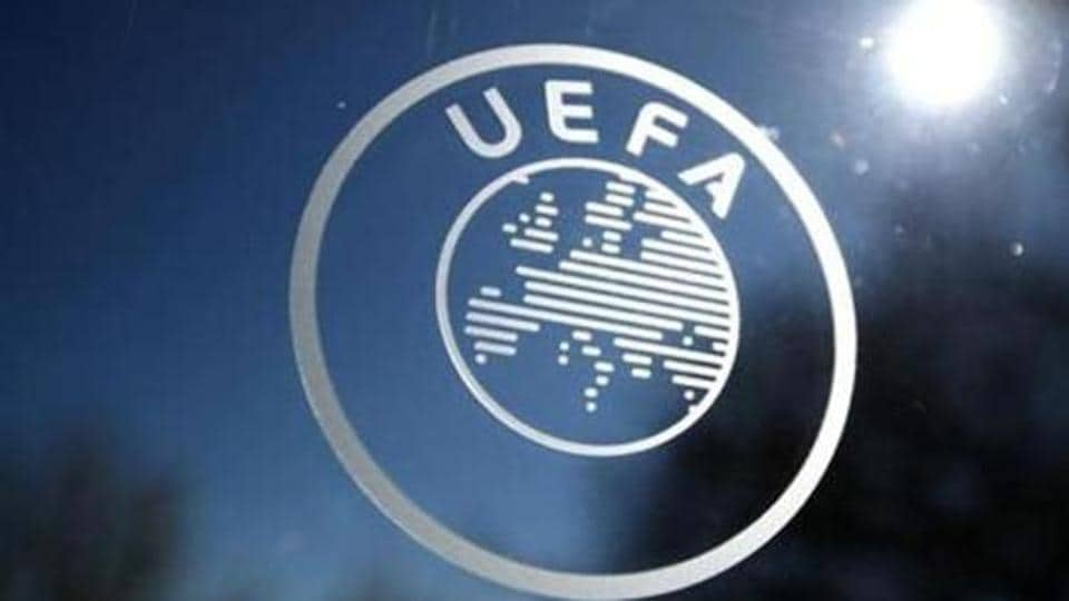 General view of the UEFA logo at UEFA Headquarters before the draw.