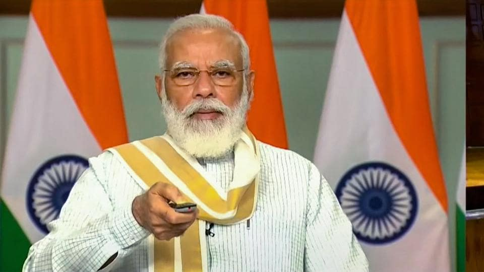 Prime Minister Narendra Modi launches the 'Transparent Taxation - Honoring The Honest' platform, via video conferencing, in New Delhi.