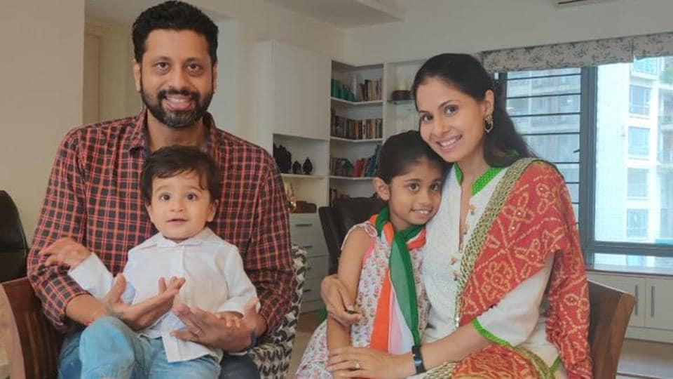 Actor Chhavi Mittal, husband Mohit Hussein and their children, Azeera and Arham, are dressed and ready to celebrate a virtual Independence Day.