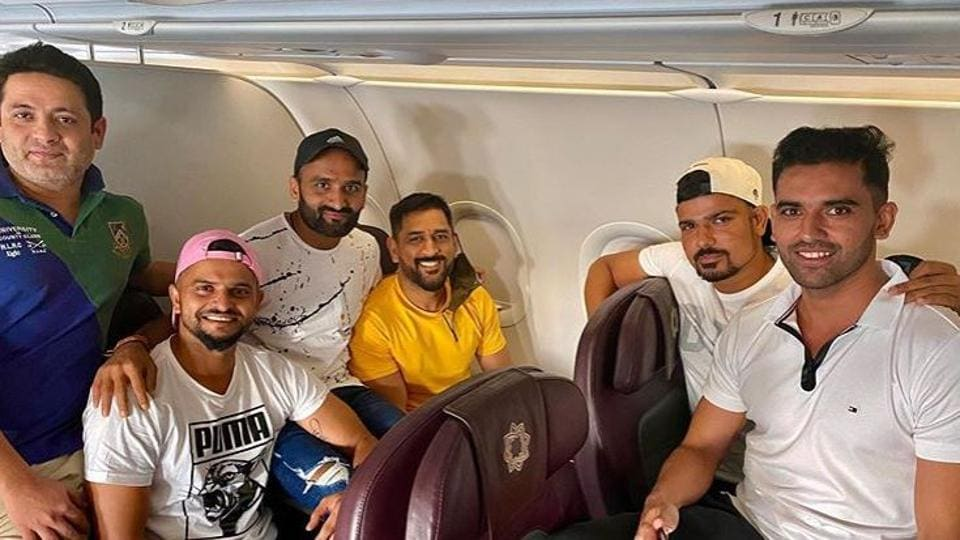 MS Dhoni and Suresh Raina with other CSK players on flight to Chennai.