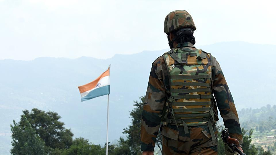 Jammu and Kashmir: Army soldier patrols near Line of Control (LOC) at Poonch.