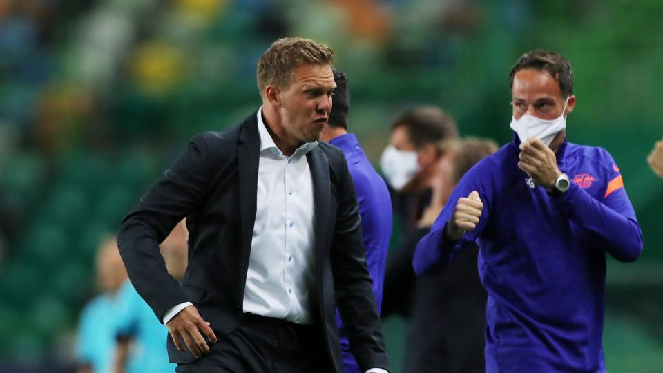 RB Leipzig's coach Julian Nagelsmann reacts during the match.