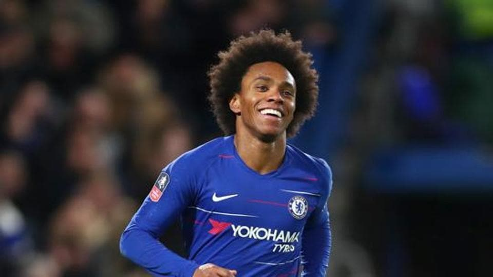 Willian of Chelsea celebrates after scoring his team's third goal during the FA Cup Fourth Round match between Chelsea and Sheffield Wednesday at Stamford Bridge on January 27, 2019 in London, United Kingdom.