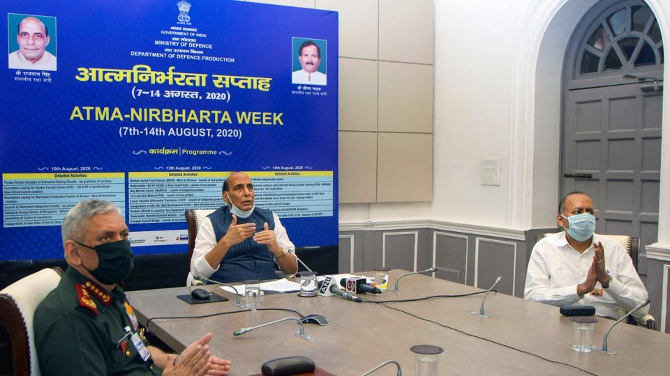 Defence Minister Rajnath Singh during the launch of 15 products developed by Defence Public Sector Undertakings and Ordnance Factory Board, in New Delhi on Thursday.